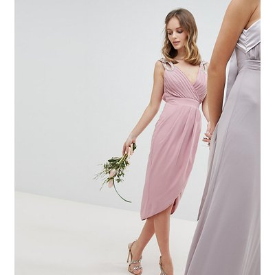 TFNC Petite Wrap Embellished Midi Bridesmaid Dress