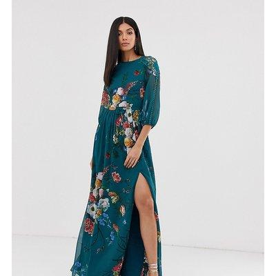 Little Mistress Tall 3/4 sleeve floral chiffon maxi dress