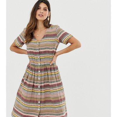 ESPRIT Esprit - Gestreiftes Midi-Hemdkleid mit V-Ausschnitt - Mehrfarbig