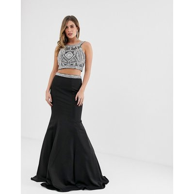 Jovani seperate maxi skirt with ruffle detail and embellished top