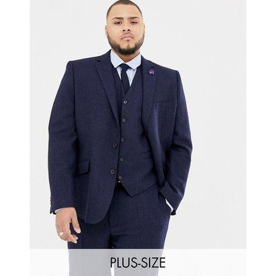 18fe4bda4a6 Gianni Feraud Plus slim fit large navy herringbone wool blend suit jacket