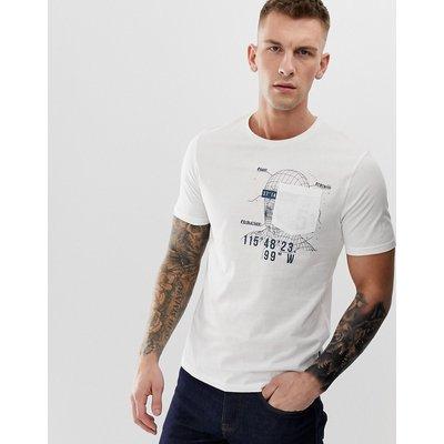 ONLY & SONS Only & Sons - Weißes T-Shirt mit Grafikdetail an der Tasche - Weiß