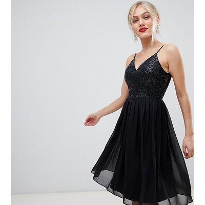 Chi Chi London Petite cami strap embellished midi dress in black