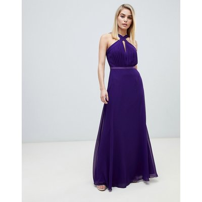 Little Mistress strappy pleated bust maxi dress in purple