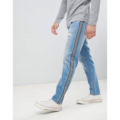 JACK & JONES Jack & Jones - Schmal zulaufende Jeans mit Seitenstreifen - Blau