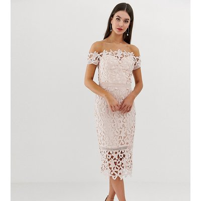 Chi Chi London Tall bardot lace midi dress in blush pink