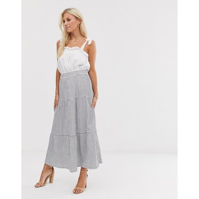 Y.A.S textured check tiered maxi skirt