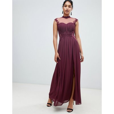 Little Mistress high neck chiffon maxi dress with lace back and delicate floral applique detail