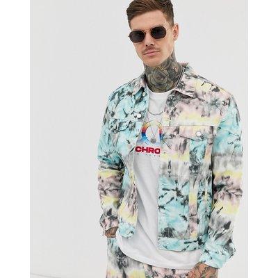 BERSHKA Bershka - Jeansjacke mit buntem Batikdesign