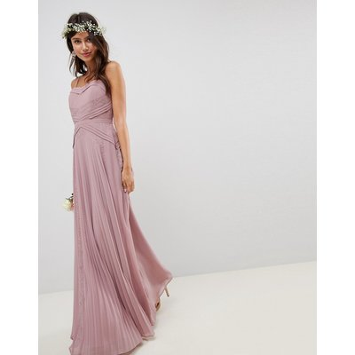 ASOS DESIGN Pleated Panelled Cami Maxi Dress With Lace Inserts