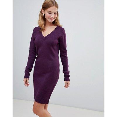 BRAVE SOUL Brave Soul - Pulloverkleid mit V-Ausschnitt - Violett