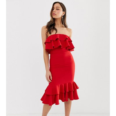Chi Chi London Tall jersey midi dress with frill detail in red