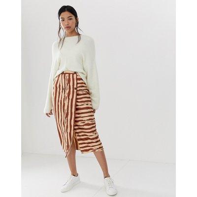 ASOS DESIGN safari stripe double breasted pencil skirt