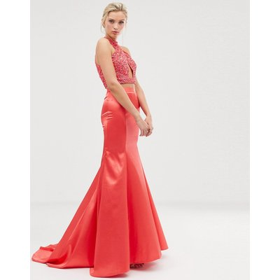 Dolly & Delicious fishtail maxi skirt in coral pink