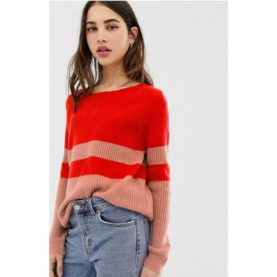 ONLY Only - Nala - Pullover mit Farbblockdesign - Rot