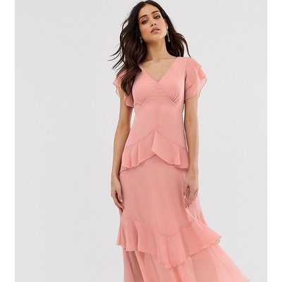 Warehouse tiered maxi dress with ruffles in pink