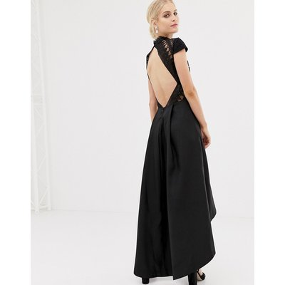 Chi Chi London high low midi dress with open back in black