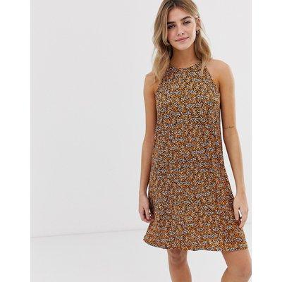 ONLY Only - Hochgeschlossenes Kleid mit Blumenmuster - Braun