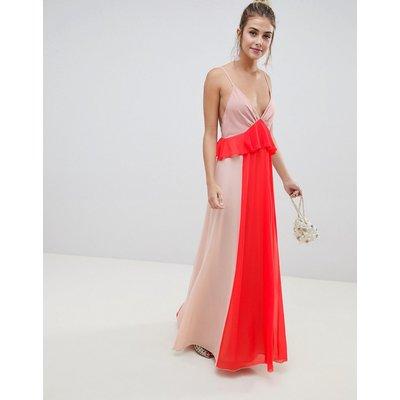 ASOS DESIGN colourblock cami strap maxi dress with ruffle waist