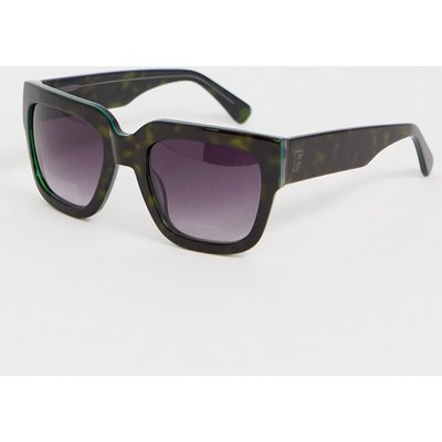 FRENCH CONNECTION French Connection - Eckige Sonnenbrille mit flachem Brauensteg - Schwarz