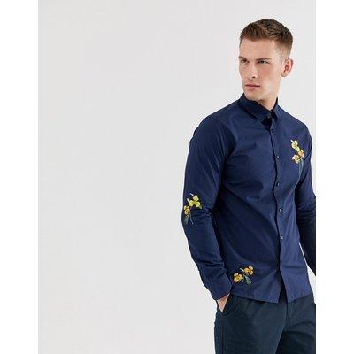 SELECTED Selected Homme - Marineblaues Hemd in normaler Passform mit Blumenstickerei - Navy