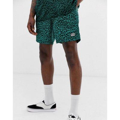 OBEY Obey - Dolo - Grüne Shorts mit Leopardenfellmuster - Grün