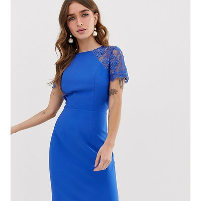 Chi Chi London Petite pencil dress with lace insert and cap sleeve in blue