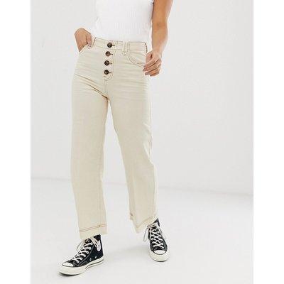 BERSHKA Bershka - Jeans-Hosenrock mit Knopfdetail in gebrochenem Weiß - Weiß