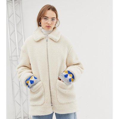 WEEKDAY Weekday - Weiße Teddyjacke mit Reißverschluss - Weiß