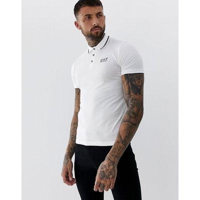 EMPORIO ARMANI EA7 EA7 - Weißes Polohemd mit Zierstreifen und Logo - Weiß