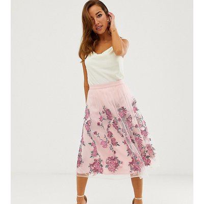 Chi Chi London Petite embroidered midi prom skirt in pink