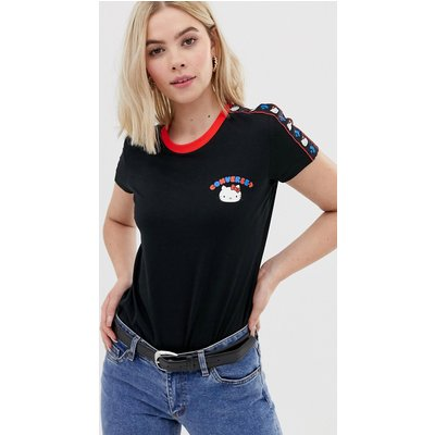 CONVERSE Converse x Hello Kitty - Schwarzes T-Shirt mit Zierstreifen - Schwarz