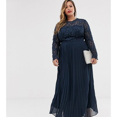 Chi Chi London Plus lace maxi dress with scalloped back in navy