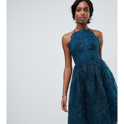 Chi Chi London Tall high neck scalloped lace dress in green