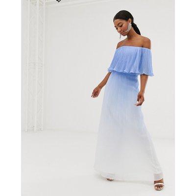 Chi Chi London bardot pleated maxi dress in blue