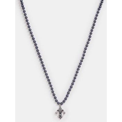 RECLAIMED VINTAGE Reclaimed Vintage Inspired - Perlenhalskette mit heraldischem Lilienanhänger