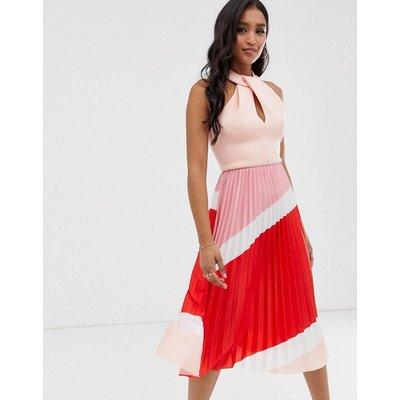 ASOS DESIGN halter pleated colourblock midi dress