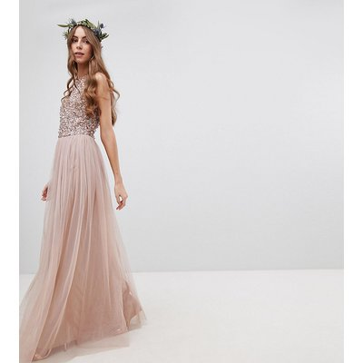 Maya Tall Bridesmaid Sleeveless Sequin Bodice Tulle Detail Maxi Bridesmaid Dress With Cutout Back