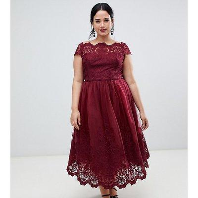Chi Chi London Plus lace detail midi dress