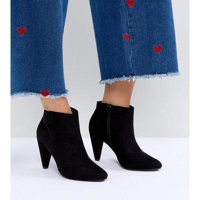 NEW LOOK New Look Wide Fit - Ankle-Boots in Wildlederoptik mit kegelförmigem Absatz - Schwarz