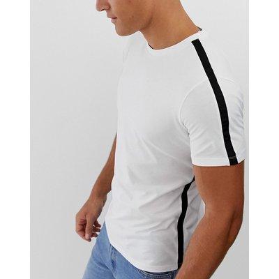 SELECTED Selected Homme - T-Shirt mit Seitenstreifen - Weiß