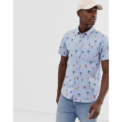 BRAVE SOUL Brave Soul - Kurzärmliges Hemd mit tropischem Palmendruck - Schwarz