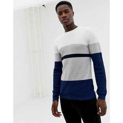 SELECTED Selected Homme - Strickpullover mit Blockstreifen - Navy