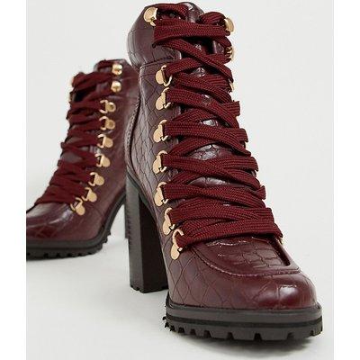 NEW LOOK New Look - Dunkelrote Stiefel mit klobigem Absatz in Kroko-Optik - Rot