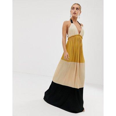 ASOS DESIGN colourblock pleated maxi dress