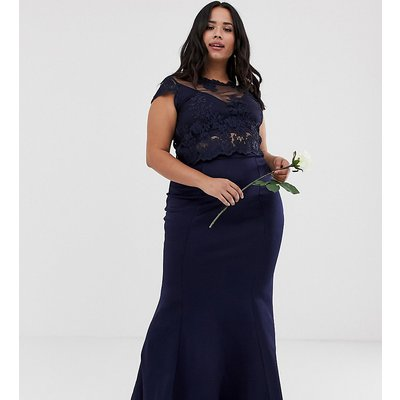 Club L Plus bridesmaid scuba panel detail maxi skirt