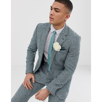ASOS ASOS DESIGN - Schmal geschnittene Anzugjacke aus Harris Tweed mit Hahnentrittmuster in Blaugrün und Weiß - Grün