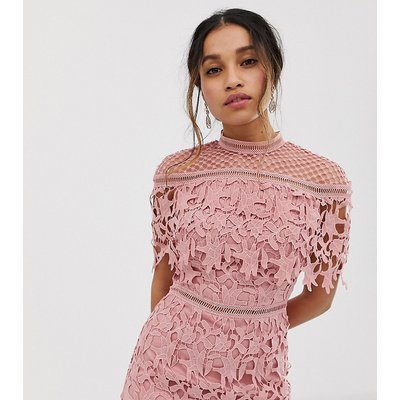 Chi Chi London Petite high neck lace pencil midi dress in rose pink