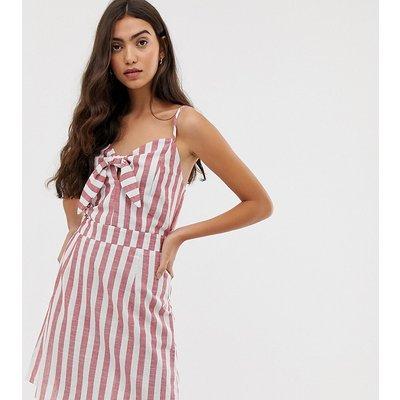 BRAVE SOUL Brave Soul Tall - Gestreiftes Sommerkleid mit Schnürband - Weiß