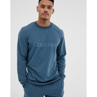 CALVIN KLEIN Calvin Klein - Sweatshirt mit Rundhalsausschnitt und Logostickerei in Stahlblau - Grau